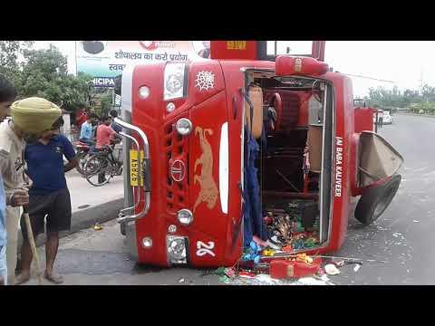 Mini bus (407) turtled on national highway near Gas Plant Bari-Brahmana