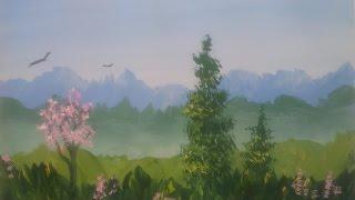 Летний день гуашью [Картина за 3 минуты!]
