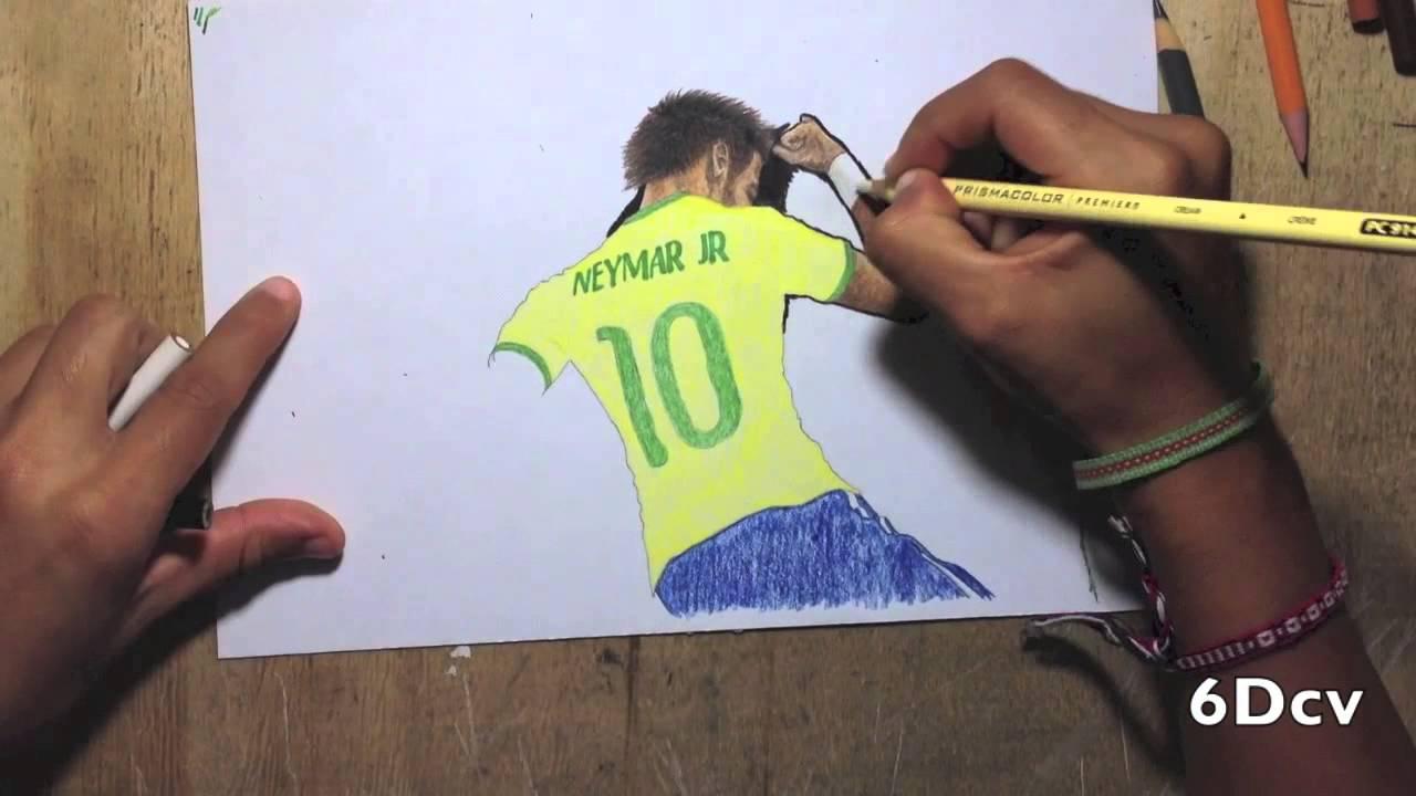 Dibujo de Neymar Jr celebrando un gol vs Croacia en La Copa