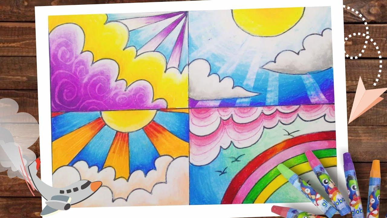 4 Macam Tips Mewarnai Langit Siang Dengan Crayon Tips Menggambar