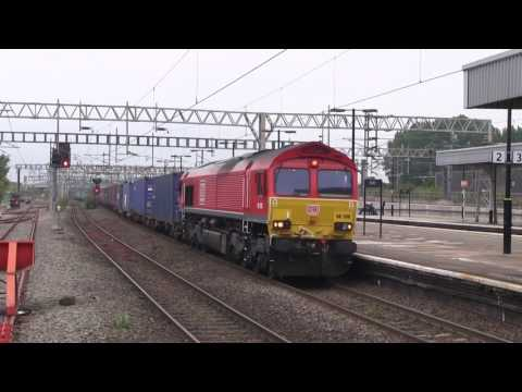 Rail Freight activity on the West Coast Main Line during a day on Nuneaton Station on 19th July 2017