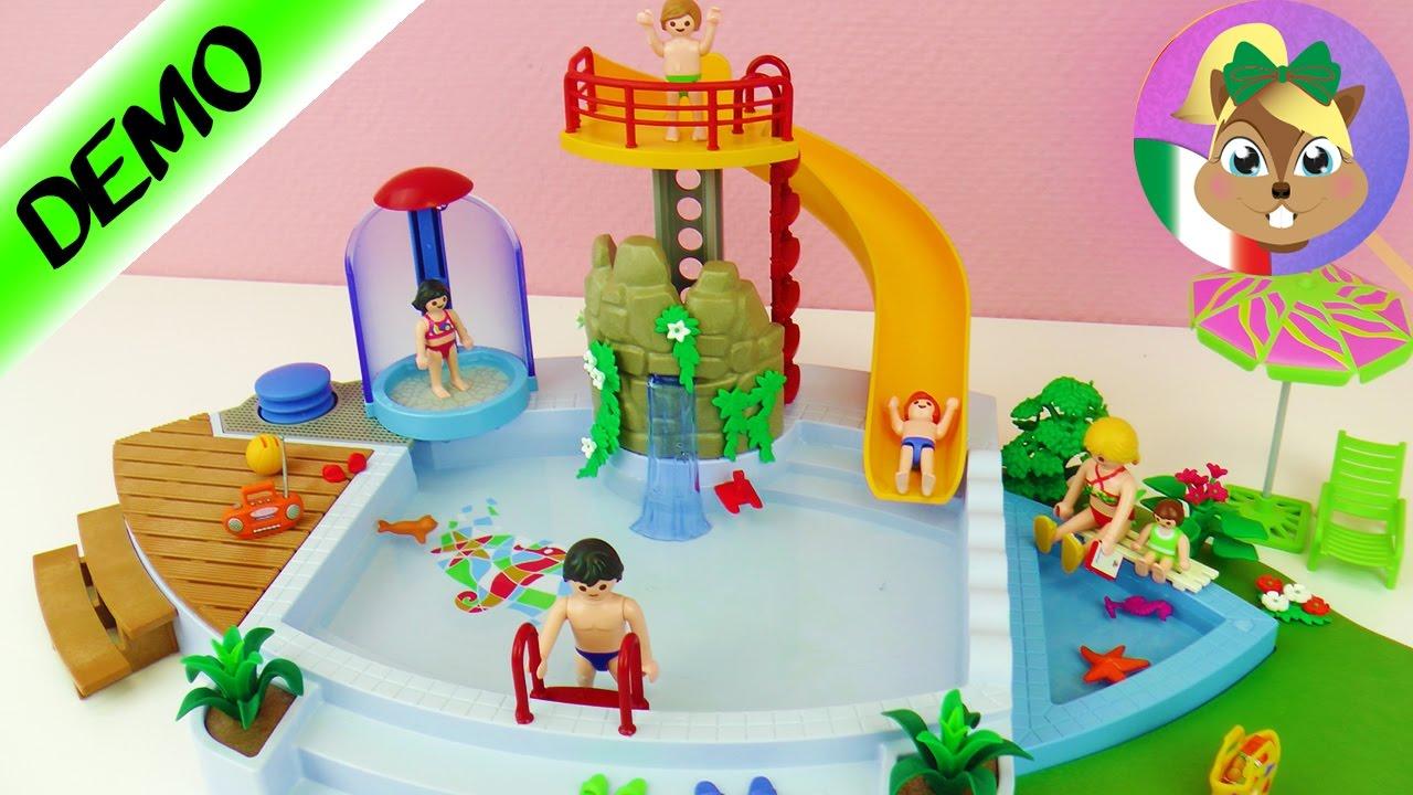 Playmobil piscina con scivolo e area divertimento youtube for Piscina playmobil
