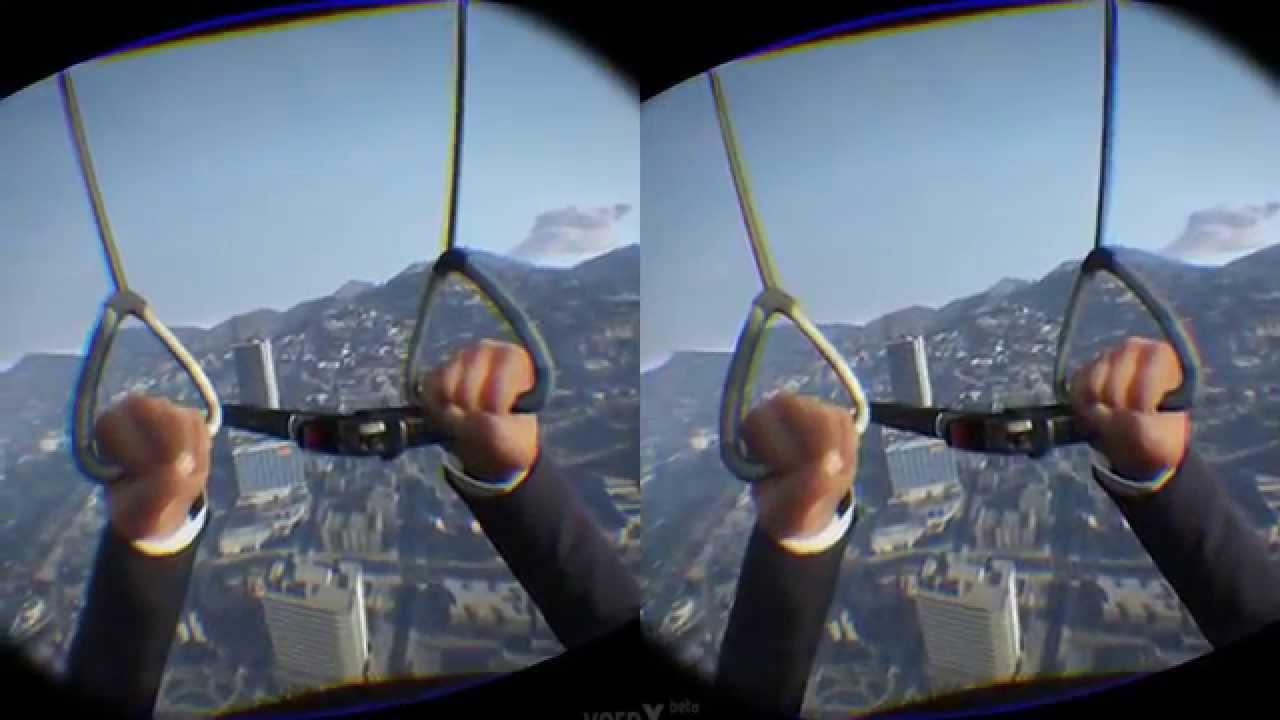 3D SBS - GTA V ONLINE w/The VR Bro's - Oculus Rift Pt 2 - 4 PLAYER  SKYDIVING!!
