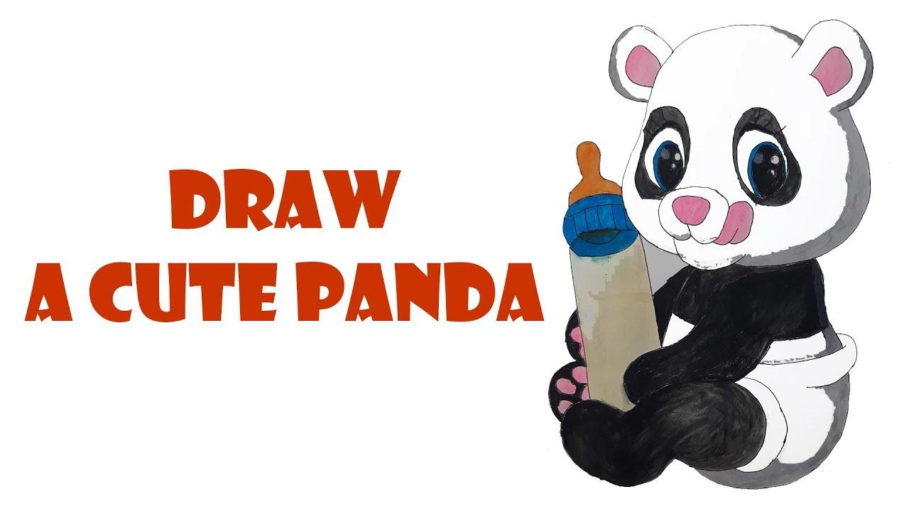 vẽ con gấu |vẽ con gấu trúc | |vẽ con panda đang cầm bình sữa |vẽ con panda |draw panda