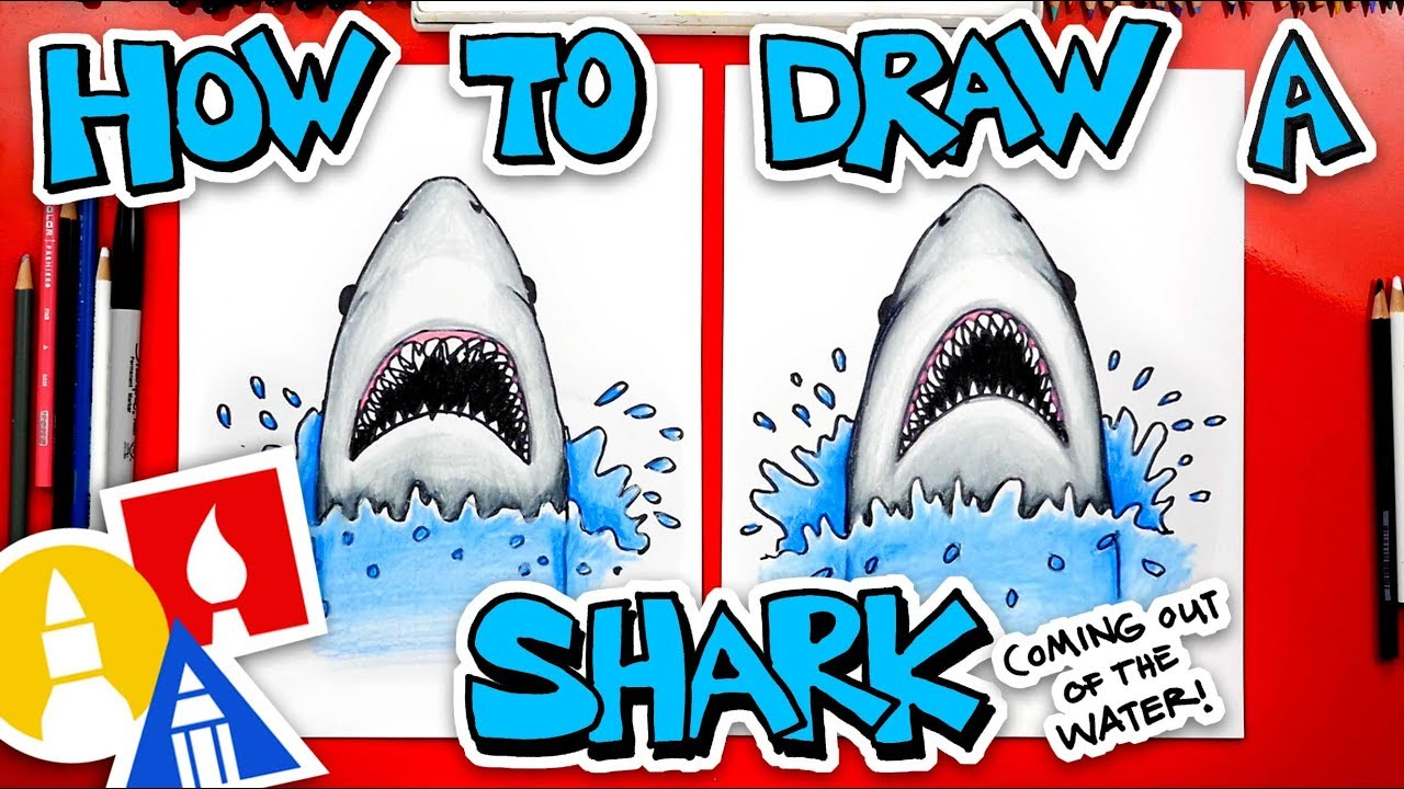 How To Draw A Shark Coming Out Of The Water (JAWS)