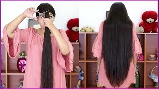 Easy hair cutting /cut your own hair at home/long layered hair cut at home/INDIANGIRLCHANNEL TRISHA