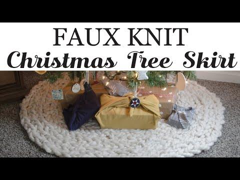 Faux Knit Christmas Tree Skirt