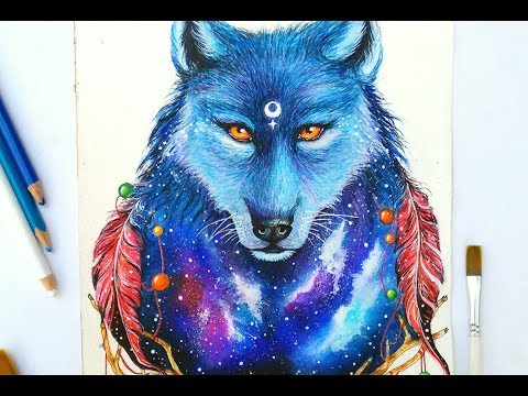 WATERCOLOR - Painting Galaxy Wolf