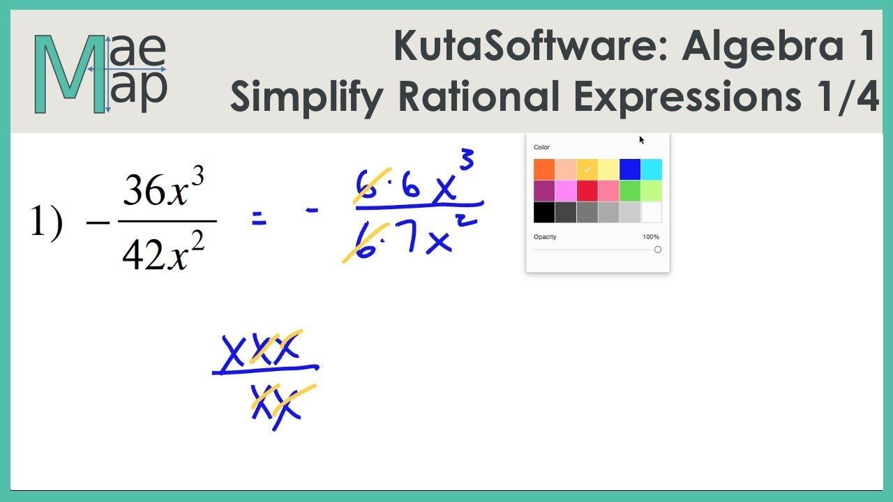 KutaSoftware: Algebra 1- Simplifying Rational Expressions Part 1