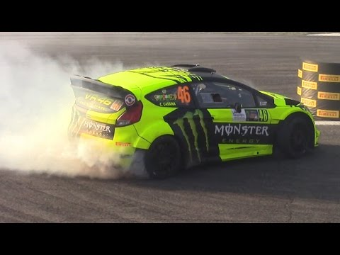 Valentino Rossi Vs Thierry Neuville Vs Tony Cairoli - Donuts Battle Monza Rally Show 2015!