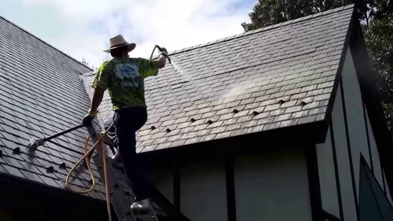 Safe Non Pressure Slate Roof Cleaning Youtube