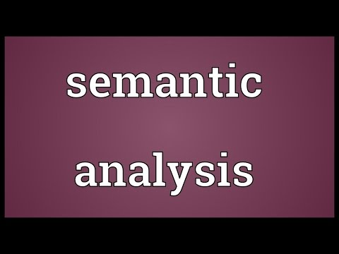 Semantic analysis Meaning