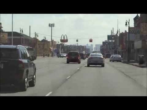 Detroit Streets, Highways & Buildings. Random Driving