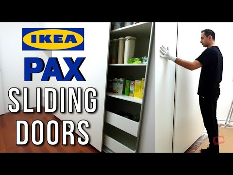 Ikea Pax Wardrobe Sliding Doors Assembly Big Kitchen Cabinet Pantry Youtube