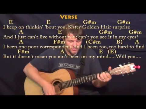 Sister Golden Hair (America) Strum Guitar Cover Lesson in E with Chords/Lyrics