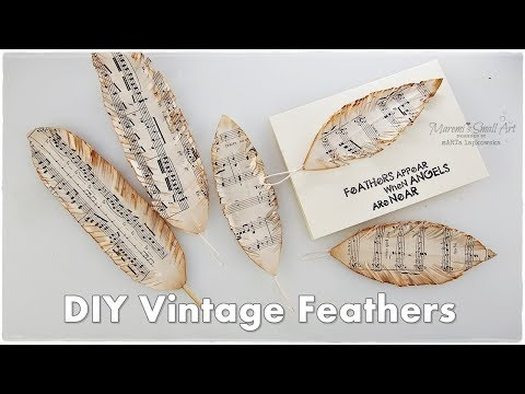 DIY Vintage FEATHERS using Music Sheet ♡ Maremi's Small Art ♡