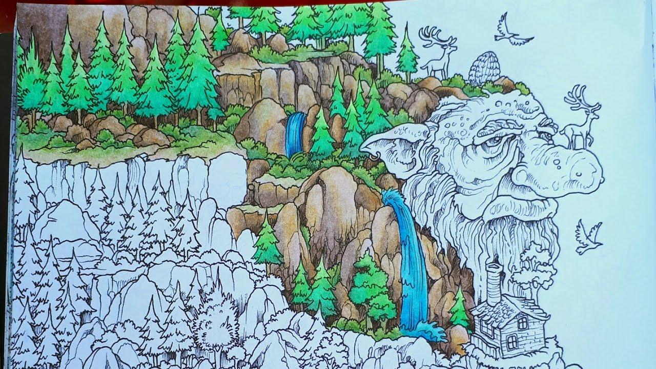 Tuto coloriage roches et montagne aux crayons de couleurs
