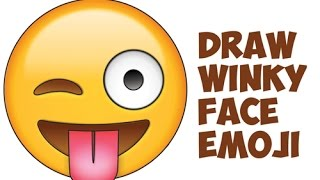 How to Draw Winking Eye Emoji Face / Winky Eye Emoji Face Easy Step by Step Drawing Tutorial