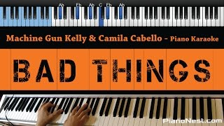 machine gun kelly camila cabello bad things lower key piano karaoke sing along