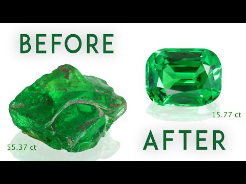 MASTER CUTTING the Exceptional 55.37 cts TSAVORITE by Vlad Yavorskyy