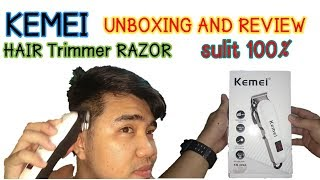 KEMEI KM-809A HAIR TRIMMER RAZOR UNBOXING AND REVIEW
