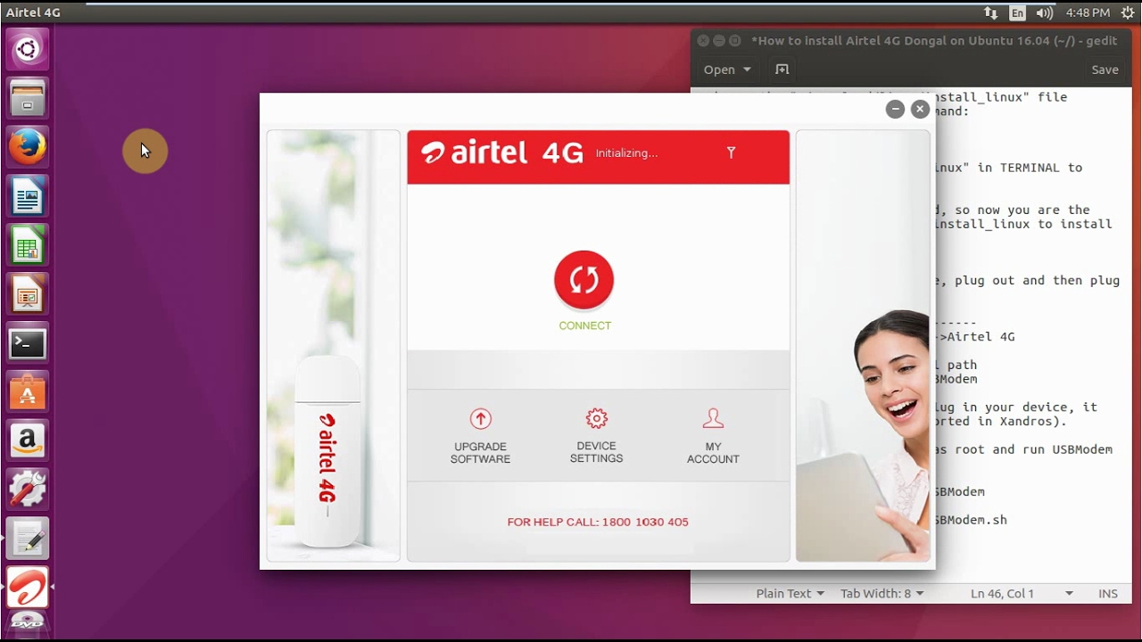 How to install Airtel 4G Dongal Model No MMX444L on Ubuntu 16 04