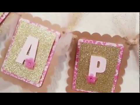 Pink and Gold Happy Birthday banner / Diy / Cricut
