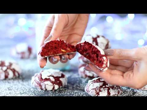 Печенье Трещинки Красный Бархат с шоколадом. В сахарной пудре