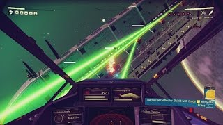 Taking down a 5 star Sentinel Warship - Space fighting Gameplay - No Man's Sky