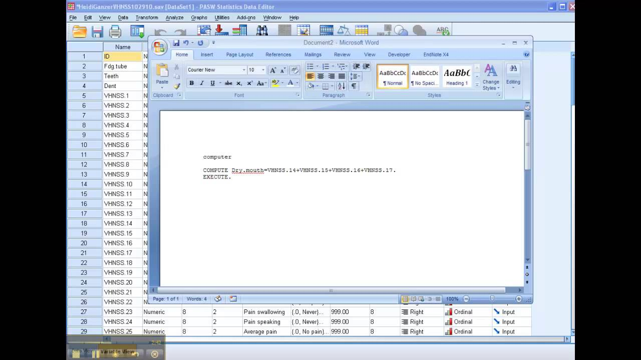 How Topute Aposite Variable In Spss