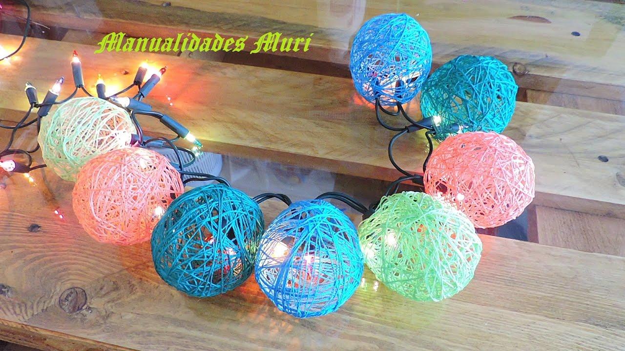Manualidades decora las luces de navidad con bolas de hilos youtube - Luces arbol de navidad ...