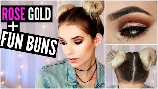 Metallic Trend: ROSE GOLD Eyes & Lips + FUN BUNS Hair Tutorial
