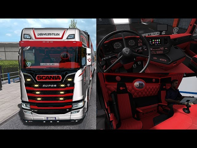 ? [ETS2 1.34] Custom Red and Black Interior Scania S Next Generation