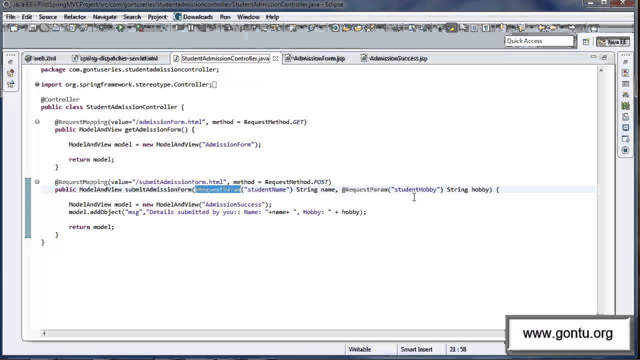 Spring mvc tutorials 10 handling an html form using requestparam annotation