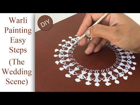 How to make warli painting    DIY warli wedding scene on canvas