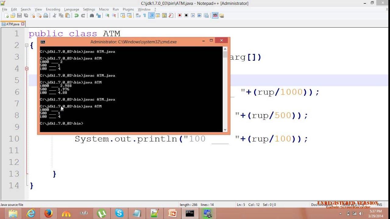 java programming tutorial 9 ATM machine program (sindhi)