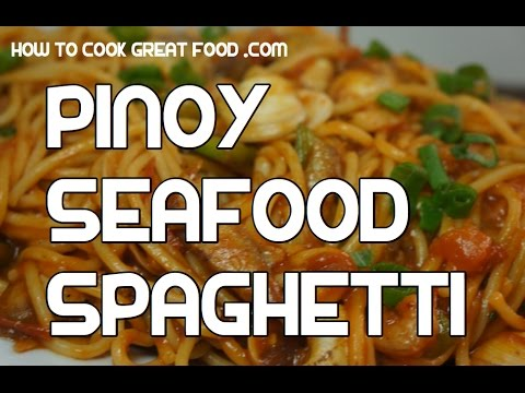 Seafood Spaghetti Recipe – Pinoy Style Tagaglog Clams Shrimp Salmon