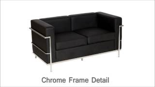 Black Faux Leather & Chrome Seater Office Reception Sofa Selection - DDC Office Furniture(Product Description Available now to purchase in our stores: eBay: http://goo.gl/Ahqcqe - 1,2 & 3 Seater Sofas in Leather Effect - Based on Le Corbusier Style ..., 2014-10-27T17:09:25.000Z)
