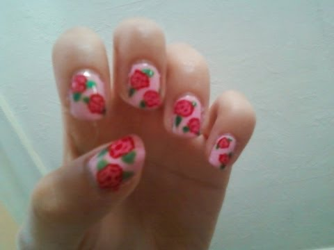 how to draw roses on nails easiest way diy at home