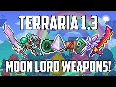 Terraria 1.3 Mobile ALL MOON LORD WEAPONS! | Damage Guide! | NEW WEAPONS TIPS & TRICKS | PS4