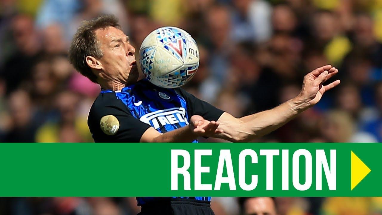 0fc387854 Norwich City Legends 1-2 Inter Forever: Jurgen Klinsmann Reaction ...