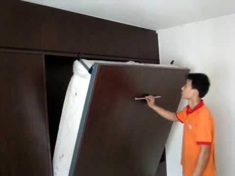 HWB-Hidden Wall Bed SG-HDB-Woodlands-Blk803-HWB-QUEEN+WARDROBE+TOP&SIDE CABINETS.Wall Bed