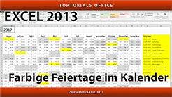 Feiertage im Kalender farbig markieren (Microsoft Excel)