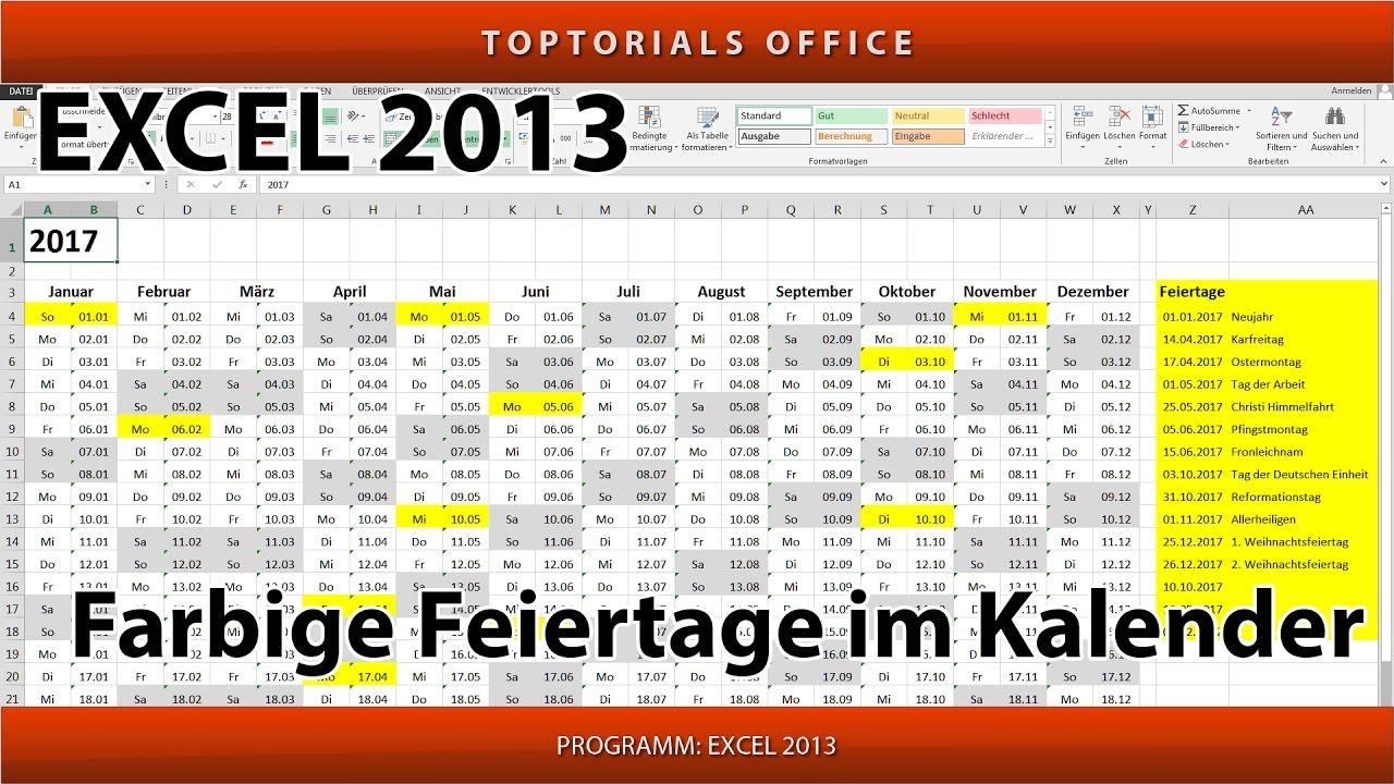Feiertage Im Kalender Farbig Markieren Microsoft Excel Youtube