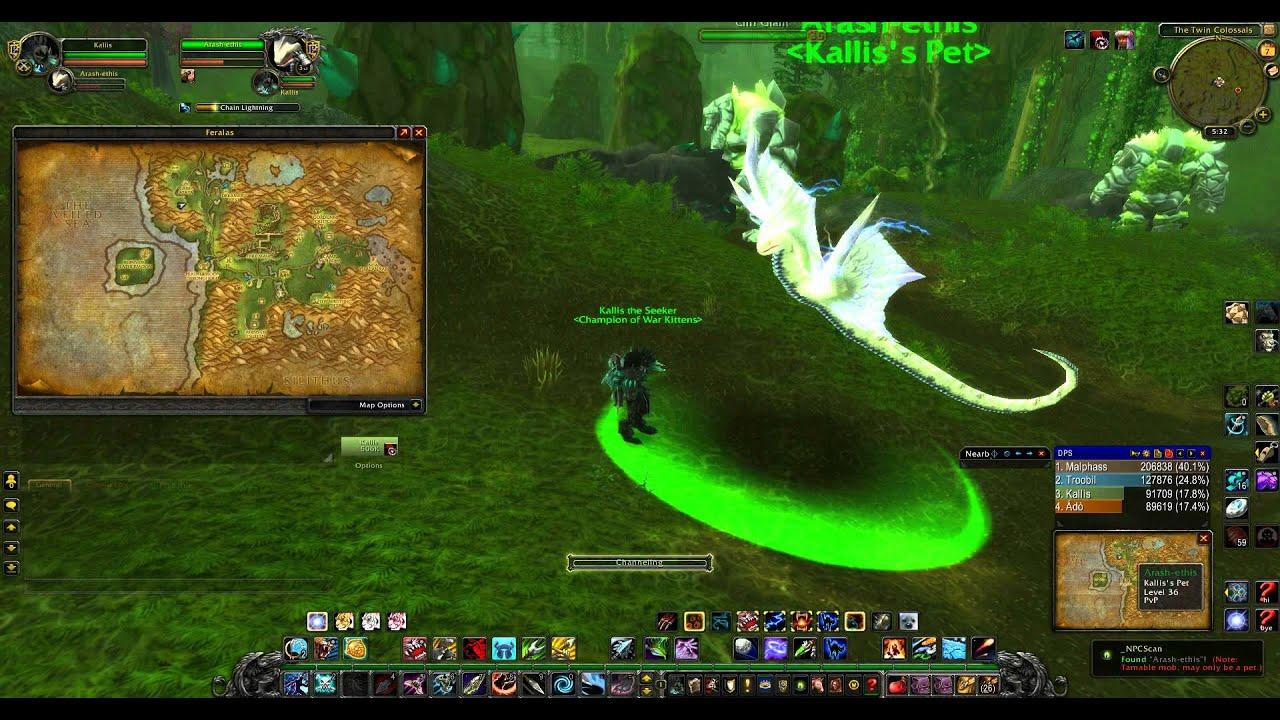World Of Warcraft Rare Hunter Pet Locations Feralas Youtube