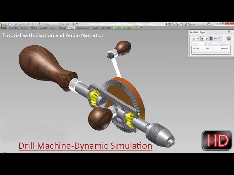 Drill Machine-Dynamic Simulation (Video Tutorial with Audio Narration) Autodesk Inventor