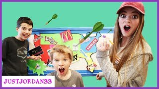 Throwing A Dart At A Map Eat It, Play It, Or Buy What Ever It Lands On! Sis Vs Bro / JustJordan33