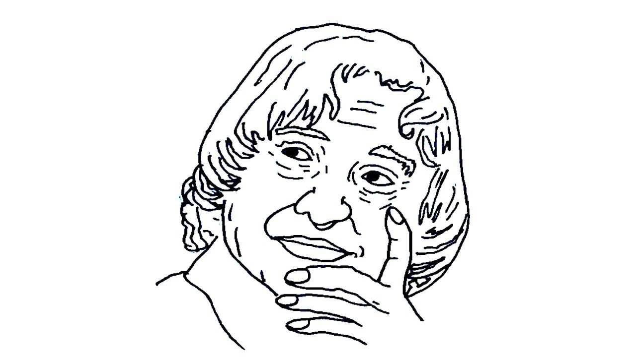 How to draw abdul kalam in easy method   abdul kalam ...
