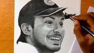 Kumar Sangakkara - Pencil Drawing - Sri Lankan Cricket Player