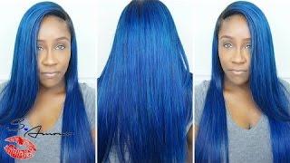 BLUE HAIR TUTORIAL | GLUELESS FULL WIG INSTALL | ORDERWIGSONLINE.COM